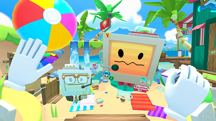 VacationBot and EfficiencyBot introducing VR players to Vacation Beach