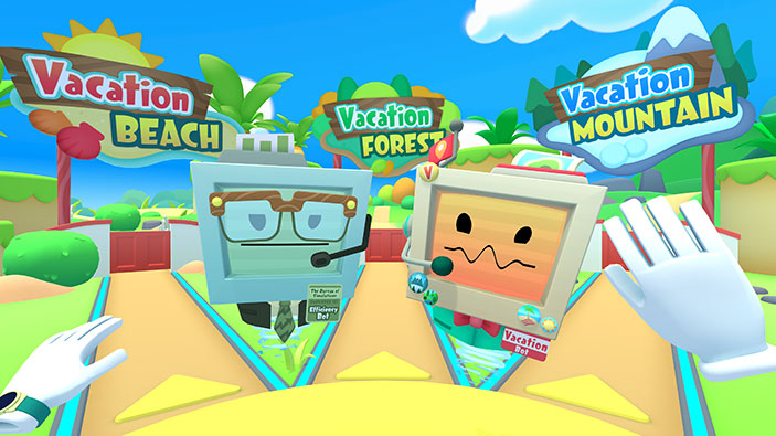 VacationBot and EfficiencyBot introducing VR players to Vacation Simulator destinations